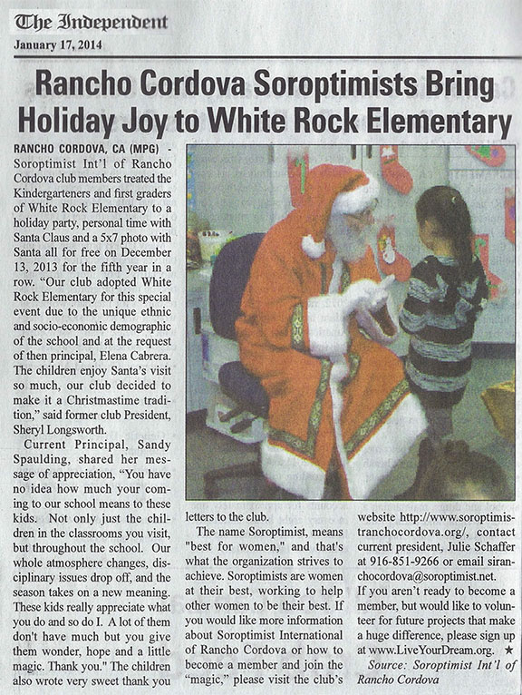 Santa visits children at White Rock Elementary School